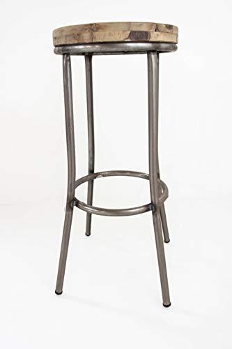 Taburete Metal y Madera TOM Industrial Sam, Asiento de Madera, 77x35cm. Incluye Imán Personalizable de Regalo.