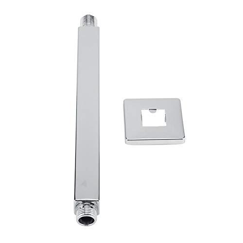 Douchearm, vierkante roestvrijstalen plaat boven douchearm buis muurbeugel voor badkamer plafond douchekop verdikking roestvrij stalen buis, high fashion ergonomisch ontwerp (10 inch)