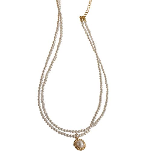 Necklace Clavicle Chain Double Pearl Necklace Pendant Elegant Retro French Simple Neck Jewelry White
