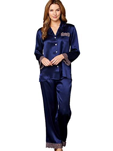 Julianna Rae Serendipity Women's 100% Silk Pajama, Petite, Indigo, MP