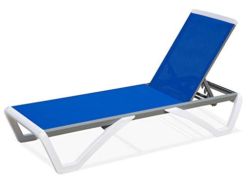 domi outdoor living Aluminum Outdoor Adjustable Chaise Lounge Pool Chair Five-Position Recliner All Weather Resistance,Blue Textilene