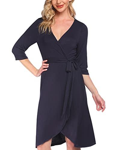 Pinspark Bata mujer algodón fino 3/4 mangas albornoz kimono sauna bata bata azul marino S