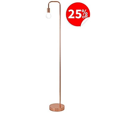 Floor Lamp for Living Room, Industrial Rose Gold Metal Reading Lamp, Contemporary Bedroom Décor, Led Bulb 4W Gifts for Her