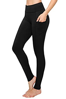 SATINA High Waisted Yoga Leggings with Pockets Super Soft | Reg & Plus Size (One Size, Black)