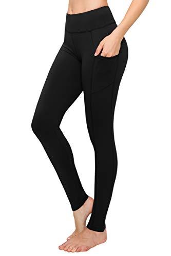 SATINA High Waisted Yoga Leggings with Pockets Super Soft | Reg & Plus Size (One Size, Black)