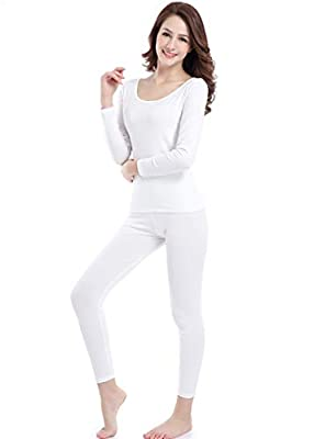 Ferrieswheel Story Ultra Thin Base Layer - Crew Neck - Stretch Thermal Underwear Pajamas for Women Ivory White