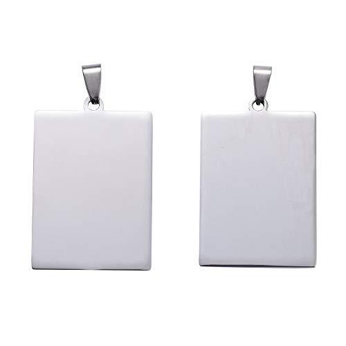 Beadthoven - 5 colgantes rectangulares de acero inoxidable 304 para etiquetas de estampación en blanco, con enganche de pinzas, 41,5 x 28 x 1,8 mm para hacer joyas, etiquetas de identificación