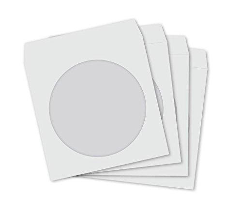 100 Papier CD/DVD Hülse Weiß Tasche mit Fenster & Klappe Papier