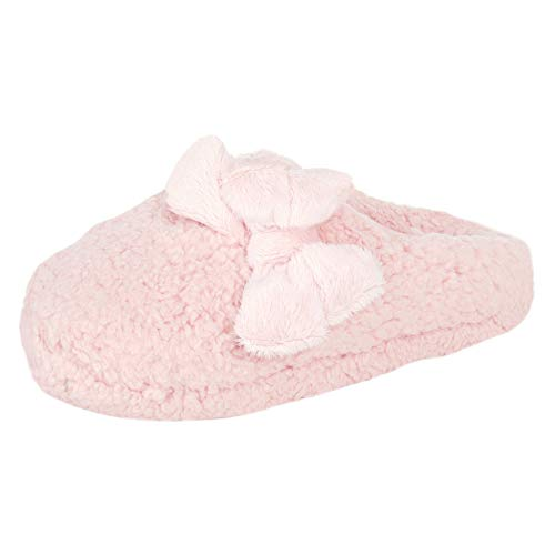 Jessica Simpson Women's Plush Marshmallow Slide On House Slipper Clog with Memory Foam, Pink, Medium
