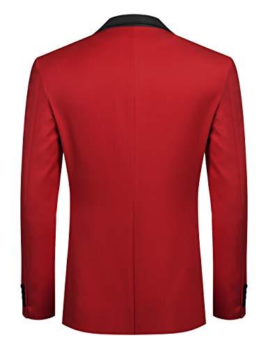 Coofandy Men's Casual Dress Suit Slim Fit Stylish Blazer Coats Jackets, Size Medium, Red