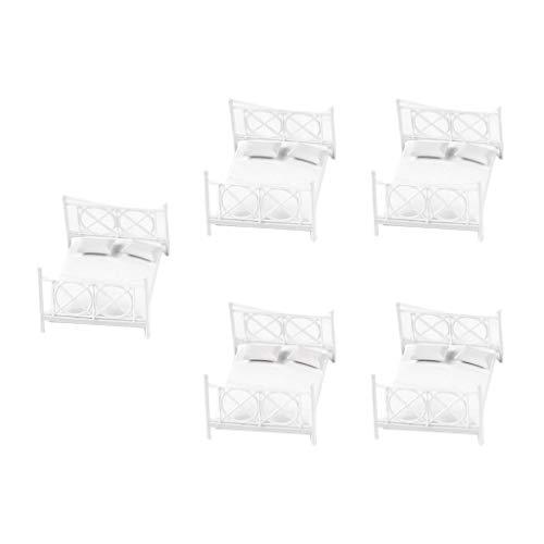 Sharplace 5 Stück 1:20 Puppenhaus Möbel, Miniatur Doppelbett Bett Kunststoff, Puppen Schlafzimmer