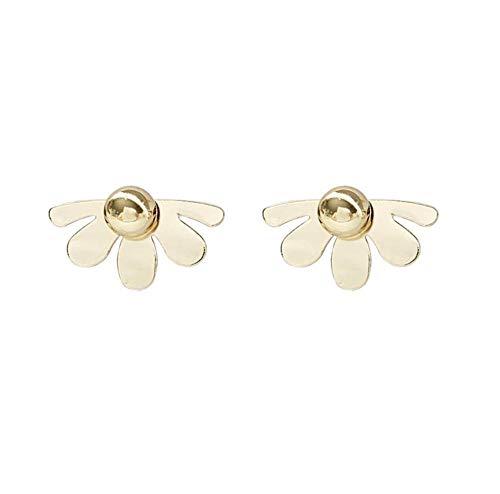 Classic Simple Metal Bead Inlaid Incomplete Flower Petal Drop Earrings Korean Pendent Earrings for Women Girls Ear Jewelry Gift 2pcs