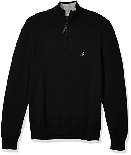 Nautica Men's Classic Fit Quarter Zip Sweater, True Black, Large