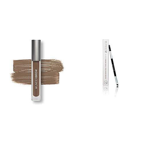 Wunder2 Wunderbrow lang anhaltendes und wasserfestes Augenbrauengel,  Brunette & WUNDERBROW Dual Precision Brush - Augenbrauenpinsel perfekte Augenbrauen Make up Pinsel