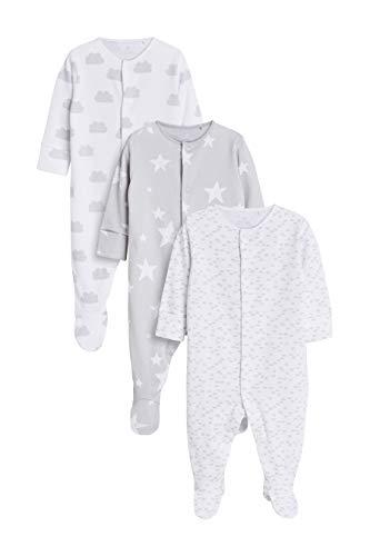 next Baby - Jungen Pyjamas Aus GOTS Bio-Baumwolle 3Er-Pack Grau/Weiß 6-9 Monat
