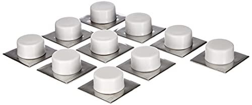 Sysfix HNY 2311501 Lot de 10 butées de Porte adhésives à Socle INOX Blanc