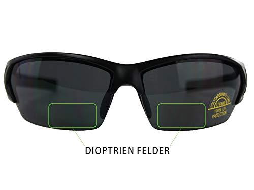 Raiko Sportswear RSB2 mit 2.0 Dioptren Radbrille, schwarz matt, One Size