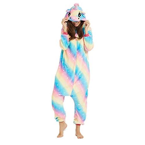 Adulto e Bambino Unisex Unicorno Tigre Leone Volpe Tutina Animale Cosplay Pigiama Costume di Carnevale di Halloween Fancy Dress Loungewear (Blue Dream Unicorn, S Altezza di 145-155 cm)