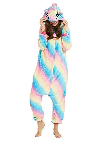 Adulto e Bambino Unisex Unicorno Tigre Leone Volpe Tutina Animale Cosplay Pigiama Costume di Carnevale di Halloween Fancy Dress Loungewear (Blue Dream Unicorn, M Altezza di 155-165 cm)