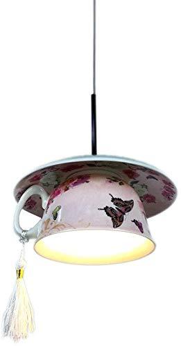 Moderno Decoración del hogar Araña Hermosa cerámica Material Drop Light Cafe Colgante LightScreative Pink Cafetería Copa Colgante Lámpara Individual LED Mini lámpara colgante