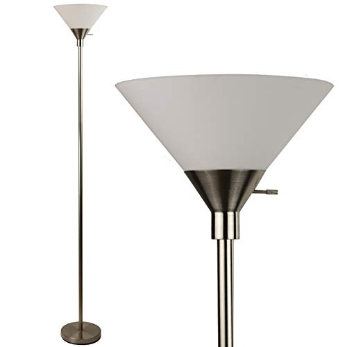 Metro Torchiere Modern Floor Lamp by Light Accents 71' Tall Floor Light Brushed Nickel Metal with White Shade - Stand Up Lamp - Uplight Pole Light - Standing Lamp (Brushed Nickel)