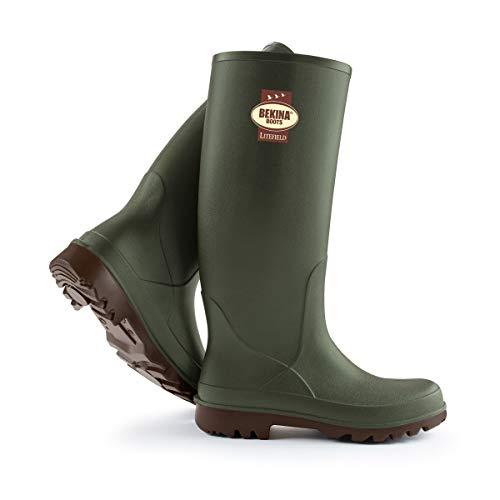 Bekina Wanderstiefel Herren und Damen mit Einlegesohle für trockene & warme Füße, rutschfest, federleicht, isolierend bis - 20 Grad, Grün, Größe 43