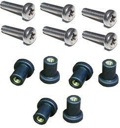 M5 Neoprene Well Nut M5 With 20mm Stainless Steel Pozi Screw (Pack 6) (E) by H2o Kayaks