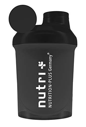 Nano-Shaker 300ml schwarz - extra klein für unterwegs zum Mitnehmen - Mix-Becher mit Schraubverschluss, Deckel und Siebeinsatz - BPA-frei - black