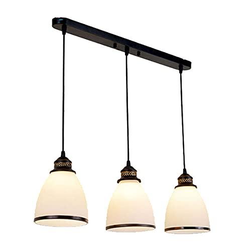 YHQSYKS Luz De Techo De Hierro Forjado Simple De Estilo Europeo Luces De Vidrio Blanco para Habitación Dormitorio Restaurante Lámpara Colgante Barra Retro Lámpara De Tres Cabezas