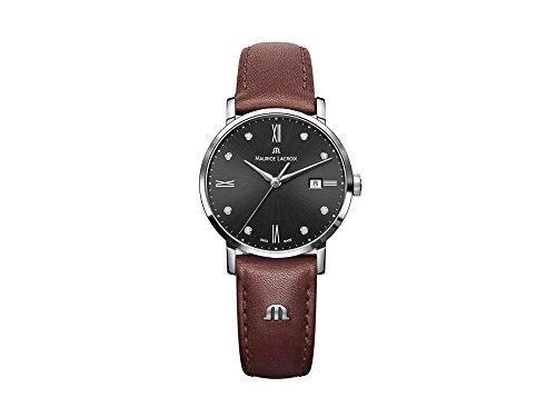 Reloj de cuarzo Maurice Lacroix Eliros Date Ladies, Negro, 30mm, Piel, Diamantes