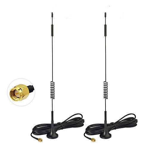 Bingfu Antenne 4G LTE 7dBi Base Magnétique Mimo SMA Antenne Mâle (Lot de 2) pour Huawei Netgear 4G LTE Router Gateway Modem Hotspot Router Gateway Mobile