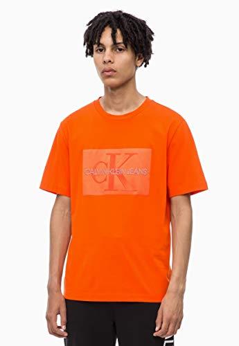 Calvin Klein Jeans heren Shiny Monogram Box Logo Regular T-shirt - Pumpkin Red - L - Oranje