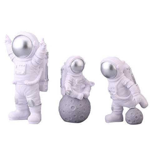 PRETYZOOM Astronauten Figur Spielzeug Spaceman Statuen Modell Kuchen Topper Weihnachten Halloween Geburtstag Weltraum Thema Party Geschenke Tischdeko Auto Armaturenbrett Ornament 3 Stück