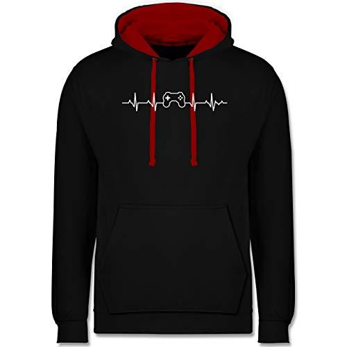 Shirtracer Nerds & Geeks - Herzschlag Gaming Controller - 5XL - Schwarz/Rot - Pullover Gamer - JH003 - Hoodie zweifarbig und Kapuzenpullover für Herren und Damen