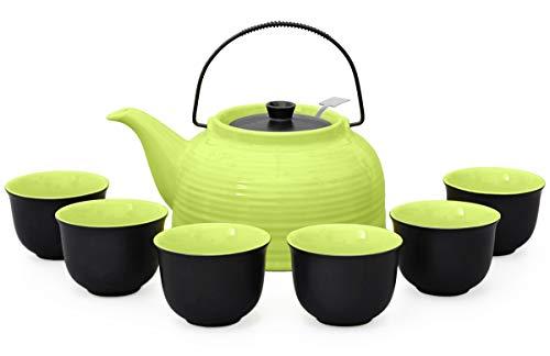"""Aricola Teeservice """"Nelly"""". Moderne Teekanne 1,5 Liter in grün/schwarz aus hitzebeständiger Keramik mit Edelstahlfilter und 6 Teecups 120ml in grün/schwarz."""