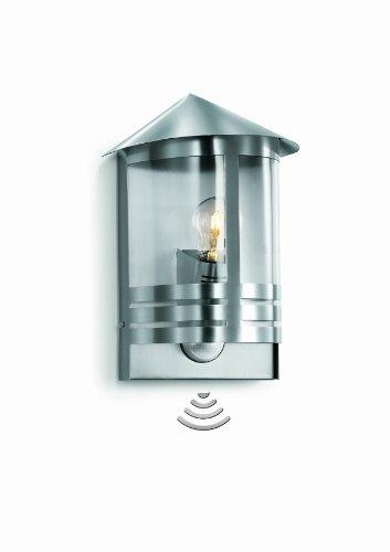 Steinel roestvrijstalen buitenlamp L 170 S, wandlamp buiten, klassiek, 180° bewegingsmelder, 12 m bereik, 100 W, E27