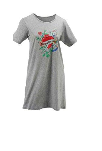AdoniaMode Damen Nachthemd Nacht-Kleid Sleepshirt Bigshirt Rundhals Kurz-Arm Heart Break Grau Gr.44/46