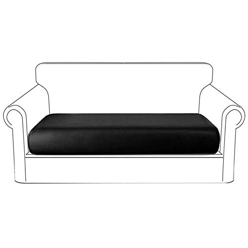 NC HOME PU Leather Sofa Cushion Covers Waterproof Sofa Seat Slipcover with Elastic Bottom Washable Furniture Protector for Leather Couch, 3 Seater (Sofa Cushion, Black)