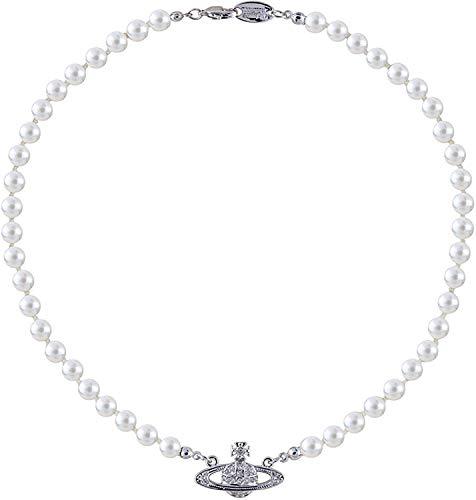 Collar de perlas de Saturno, diseño clásico, retro, fácil de combinar con Hip Hop Rock Saturno, collar de perlas, joyería para el día de San Valentín, regalos personalizados para mujeres, plata