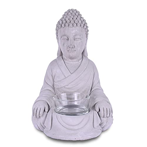 Kante SX20200177 Set of 2 Cement Composite Sitting Buddha Statues Tealight Candle Holders Ornament, Natural Concrete Indoor/Outdoor Tabletop Décor, 6.5' H, Gray
