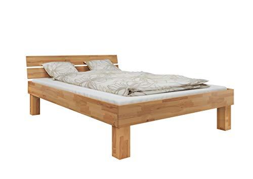 Erst-Holz® Doppelbett Buche 140x200 hohes Massivholzbett Seniorenbett inkl. Federholzrahmen 60.81-14 FV