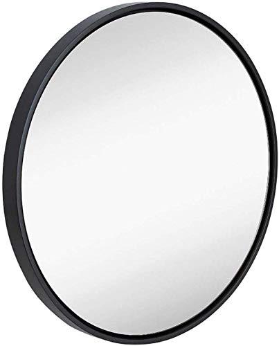 AOIWE Espejo de baño Redondo Negro para el Dormitorio de la Sala de Estar, Vidrio, Espejos de Afeitado de la vanidad de Maquillaje, Marco de aleación de Aluminio Decorativo de Pared Vidri
