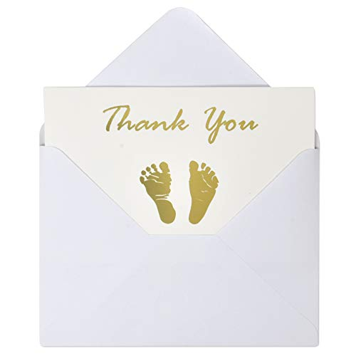 Gift Boutique 50 Count Baby Shower Thank You Cards and Envelopes Set 4 x 6 Inches Gold Foil Baby Feet Footprint White for Boys and Girls Value Pack Gender Neutral, Unisex Folded Paper Card