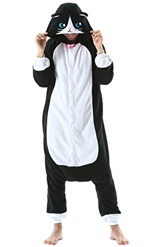 Pijama Animal Entero Unisex para Adultos con Capucha Cosplay Pyjamas Ropa de Dormir Kigurumi Traje de Disfraz para Festival de Carnaval Halloween Navidad Negro Gato