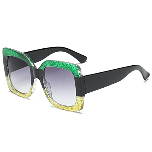 AMFG Forme las gafas de sol cuadradas de tres colores del marco grande Caijing Gafas de sol frescas para hombres y mujeres (Color : F)