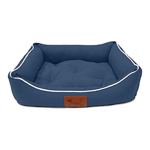 MEISHIDA Cama para Perros Super Suave Cómoda, Cama Perros Transpirable con Cojín Rellena de Fibra Hueca (Azul Marino, Large - 79 x 59 x 20 cm)