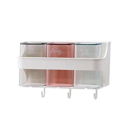 Porte-Brosse à Dents Multi-Fonction ménage Porte-Tasse Mural Porte-gobelet Ventouse Porte-gobelet (Color : A, Taille : 3cups)