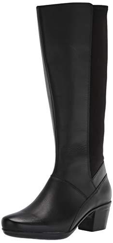 Clarks womens Emslie Emma Wide Calf Fashion Boot, Black, 10 US