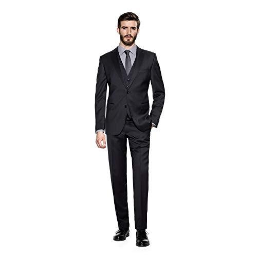Michaelax-Fashion-Trade Benvenuto Black - Modern Fit - Herren Baukasten Anzug aus Super 110'S Schurwolle (20761), Größe:64, Farbe:Anthrazit (1283)
