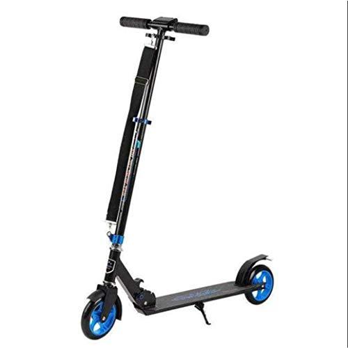 RPOLY Patinetes para Adultos, City Scooter Plegable Ligero de Altura Ajustable Patinete Juvenil Unisex Freno Trasero Scooter de Aluminio,Blue_84x34.5x98cm